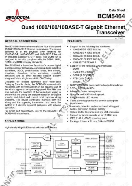 博通BCM5464芯片手册