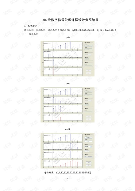 数字信号处理:线性卷积和循环卷积;模拟采样定理的实现;切比雪夫I型低通滤波器设计; 凯塞窗设计数字高通滤波器