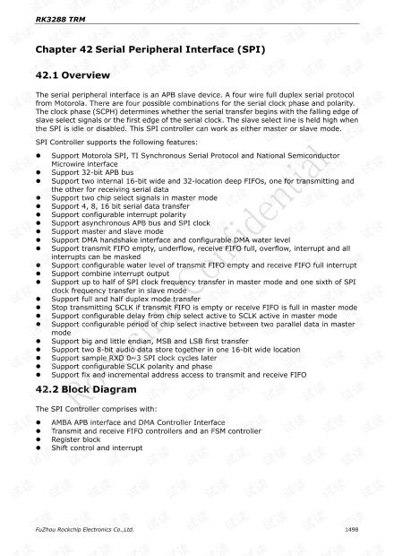 RK3288 SPI 的相关寄存器的介绍和使用