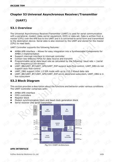 RK3288 UART 的相关寄存器的介绍和使用