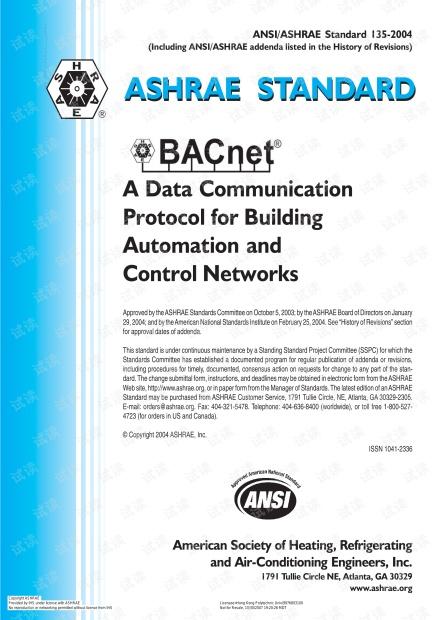 ASHRAE STANDARD BACNet-2004