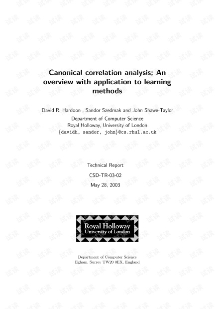 Canonical correlation analysis:An overview with application to learning methods