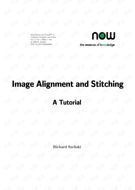BOOK Image alignment and stitching a tutorial